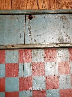 Old Hand Carved/painted Checkers 1800s Jeu De Société Folk Art Primitif