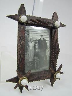 Old Tramp Art Main Miniature Cadre En Bois Sculpté Art Populaire Hiérarchisé Étoiles Reo En Laiton