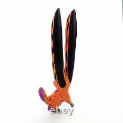 Orange Rabbit Oaxacan Alebrije Wood Carving Mexicain Art Sculpture Peinture
