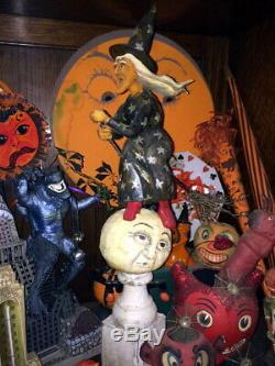 Orig Ooak Sculpté À La Main Anthony Costanza Halloween Folk Art Sorcière Sur La Lune, Signd