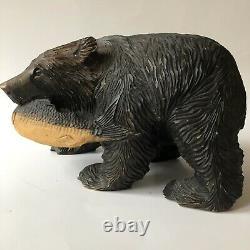 Ours Vintage Japonais Ainu Main Sculpté Bois Folk Art Salmon Fish Sculpture 10