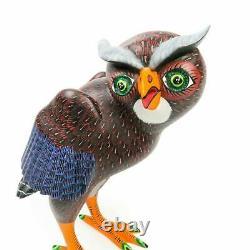 Owl Oaxacan Alebrije Wood Carving Sculpture D'art Populaire Mexicain Artisanale