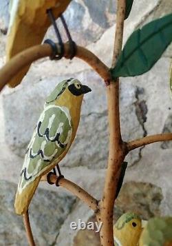 Paine Main Colorée Sculptée Pennsylvanie Folk Art Bird Tree