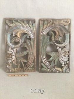 Paire Antique Sculpté Art Populaire Panneaux Painted