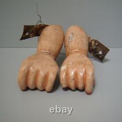 Paire Vintage Bois Sculpté Bras 6 Doll Folk Art