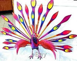 Paon Alebrije Grande Peint À La Main Sculpture Sur Bois Oaxacan Folk Art Oaxaca Mexique