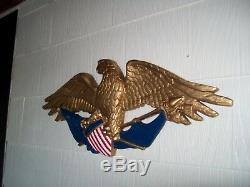 Patriotique D'eagle Sculpture Sur Bois Drapeau Et Bouclier Folk Art Sculpté À La Main