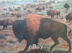 Peinture À L'huile De Bison Buffalo Colorado American Folk Art 1967 Cadre Sculpté À La Main