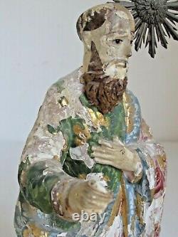 Peinture Originale Mexicaine Antique Santo Figurine Sculptée À La Main 13 Tall 18e C