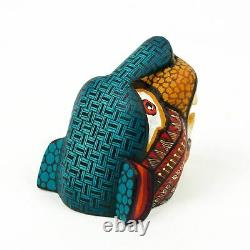Petite Tête De Jaguar Oaxacan Alebrije Sculpture Sur Bois