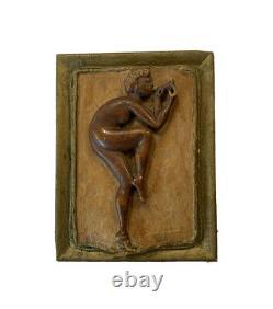 Plaque Antique De Mur En Bois Sculpté Nu Figural Folk Art South Bend Indiana 1919