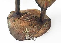 Polychrome Coq. Americana Folk Art Antique Sculpture En Bois Primitif