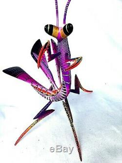 Praying Mantis Alebrije Blas Peint À La Main Oaxacan Sculpture Sur Bois Oaxaca Folk Art
