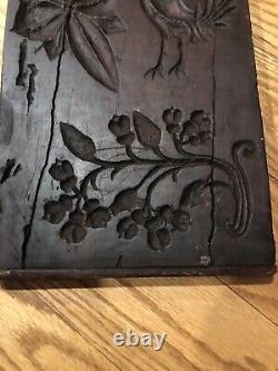 Primitive Antique Main Sculptée Folk Art Wood Butter Print Mold Lg 2 Sided Hearts