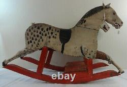 Primitive Folky Child's Rocker Carved Wood Horses In Original Paint Vers 1900