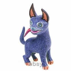 Purple Dog Oaxacan Alebrije Wood Carving Mexican Folk Art Animal Sculpture
