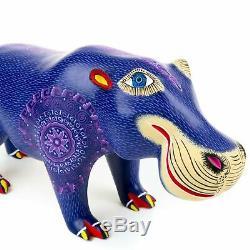 Purple Hippo Oaxacan Alebrije Sculpture Sur Bois Fine Mexican Folk Art Sculpture