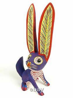 Purple Rabbit Oaxacan Alebrije Wood Carving Mexican Art Sculpture Décor