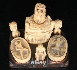 Rare 17ème / 18ème Siècle Folk Art Boîte À Tabac & Sabotages Compendium Sculpté