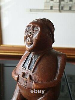 Rare 18thc Antique Treen Carved Snuff Box Carved As A Man Sailor Art Folk Art