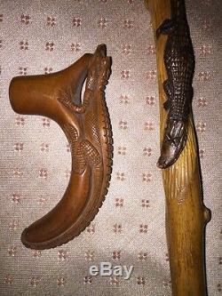 Rare Art American Folk Cane 1892 Daté Grincement Des Alligators Et Les Animaux Des Marais