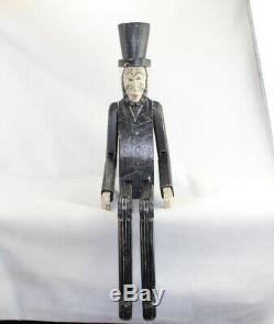 Rare Big En Bois Bois Jointé Abraham Lincoln Folk Art Collection Figure Sculpté
