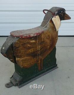Rare Bois Sculpté 19thc Antique Main Canard Carnaval Animal Art Populaire Cheval De Carrousel