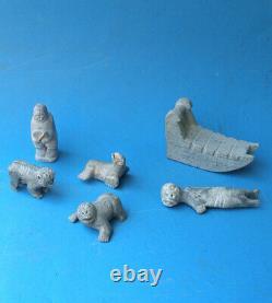 Rare Collection De Sculptures Inuites Groenlandaises Tupilak. Signé Et Daté