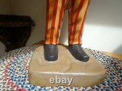 Rare Grand Vintage Americana Primitive Folk Art Wood Carved Uncle Sam Statue