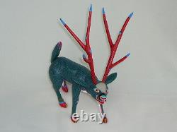 Rare Large Deer Vintage Oaxacan Alebrije Sculpture Sur Bois Par Jose Hernandez