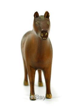 Rare Milieu Des Années 1800 Primitive / Art Populaire Sculpté Americana Jouets En Bois Cheval Enfants