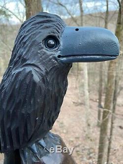 Raven Chainsaw Carving Black Bois Noyer Art Populaire Crow Sculpture Oiseaux Découpages