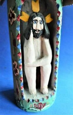 Réduit! Polonais Art Populaire Bois Sculpture De La Pensive Jesus dans Un Hut, Signé, 1987