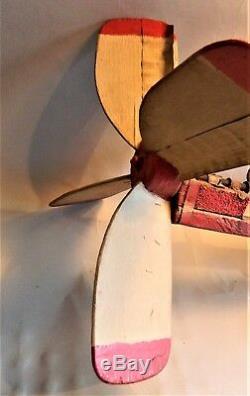 Réduit! Vintage Art 1977 Folk Sculpté Et Peint Whirligig / Bois Chopper / Alvin Hall