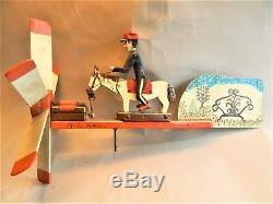 Réduit! Vintage Art 1977 Folk Sculpté Et Peint Whirligig / Homme À Cheval / Alvin Hall