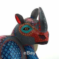 Rhinocéros Oaxacan Alebrije Sculpture Sur Bois Art Populaire Mexicain Peinture Sculpture