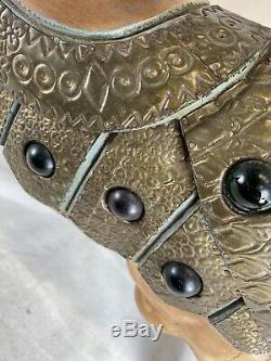 Roman Carrousel En Bois Sculpté Vintage Chariot Cheval Peint Folk Art Main