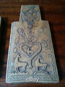 Russe Antique Art Populaire Sculpté Bois Plaque Ou Mold W Eagles Deers Coeurs