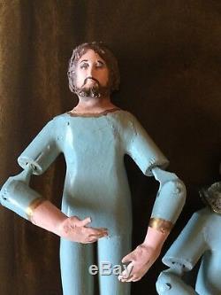 Santos Primitive Antique Poupées Jésus, Marie Sculpté Bois Jointé Folk Art Des Années 1800