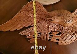 Sculpté Bois Folk Art Vintage Main Bellamy Style Aigle Plaque 44 X 14x 5 Grand