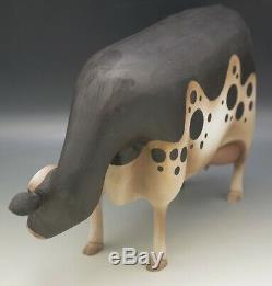 Sculpté Elaine Frank La Valette Main Grande Vache 14,5 Folk Art Sculpture 2000 Rare