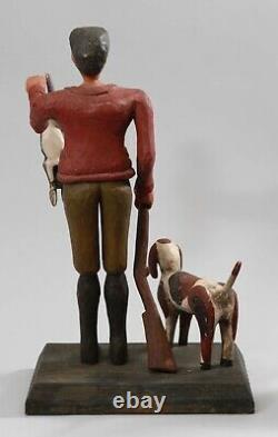 Sculpture De Sculpture En Bois D'art Folklorique De Cru De Chasseur, Crabot, Lapin