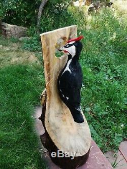 Sculpture En Bois Pivert De Pileated Sculpture Chainsaw Folk Art Canard Decoy