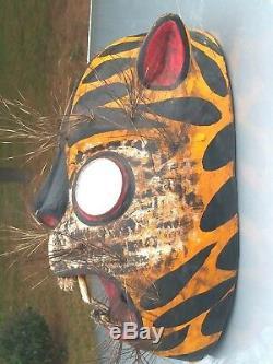 Sculpture Main Mexicain Masque En Bois Jaguar / Tigré, Mexique Folks Art Masque De Danse