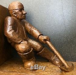 Seconde Guerre Mondiale Allemande Soldat Pow Folk Art Trench Bois Sculpté Ends Livre Signé Luftwaffe