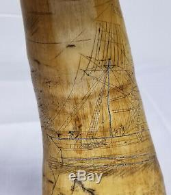 Ships Antique Fignoler Folk Art Scrimshaw Nautique Themed Poudre Corne Sirène