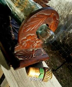 Signé 1901 Navire En Bouteille Folk Art Museum Whimsy Qualité Stand-sculpté À La Main USA