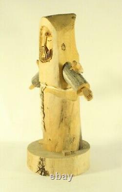 Signé Folk Art Jonas Ortega Main Primitive Sculpté St Francis Ou Monk Sculpture