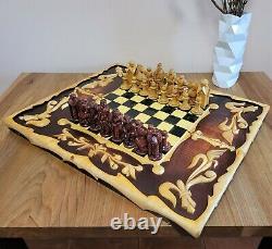 Soviet Folk Art 80s Sculpté À La Main Jeu D'échecs En Bois Russie Vintage Urss Antique