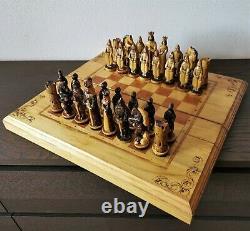 Soviet Folk Art Main Sculpté Jeu D'échecs En Bois Russie Vintage Urss Antique